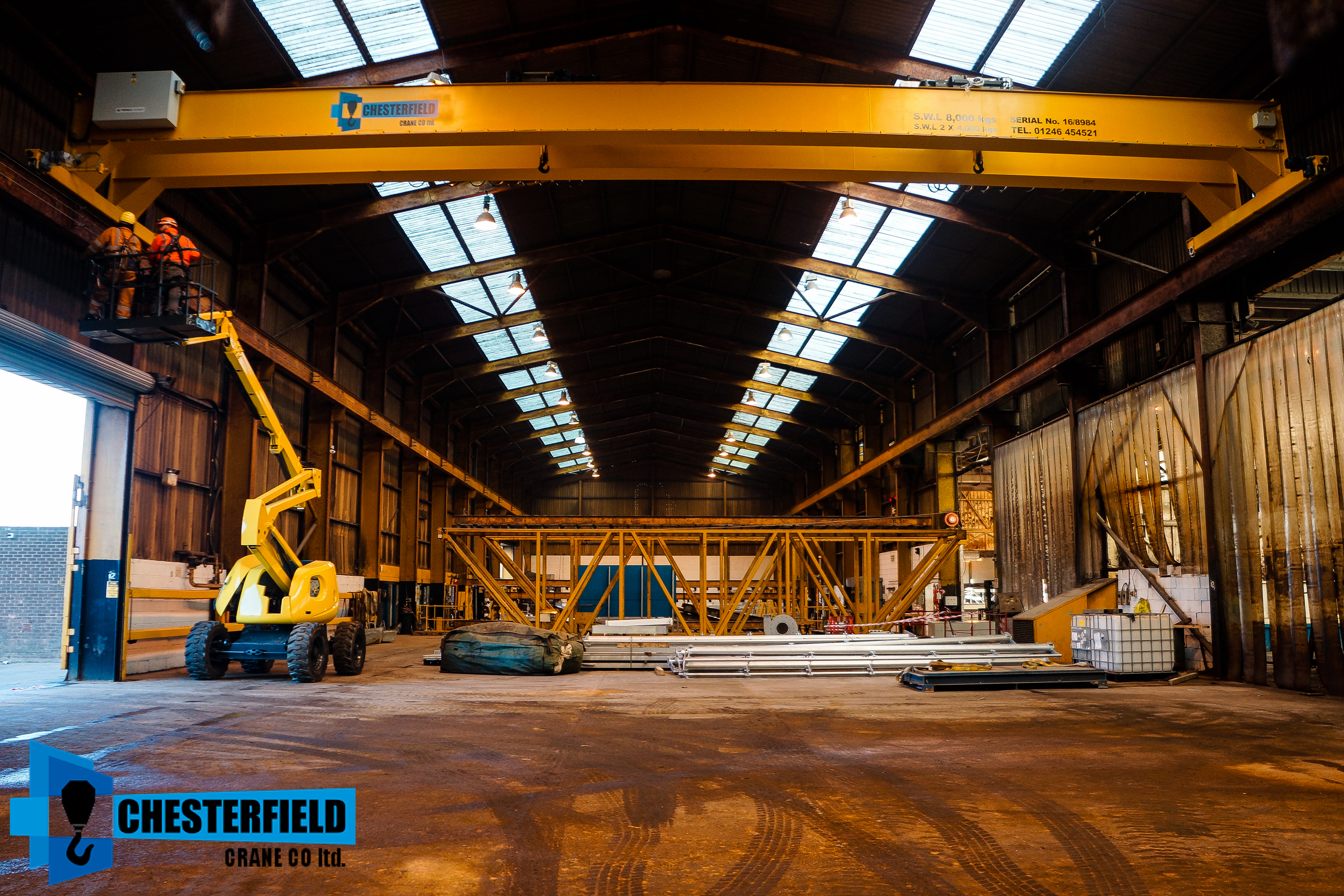 hoist crane building. reconditioned 8 tonne 19 meter span twin beam overhead crane with x2 brand new 4000kg hoists: installed by altida mobile hoist building 2